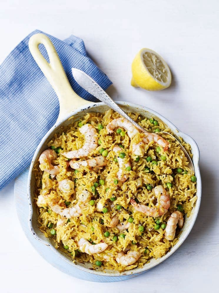 Spiced prawn and pea pilaf