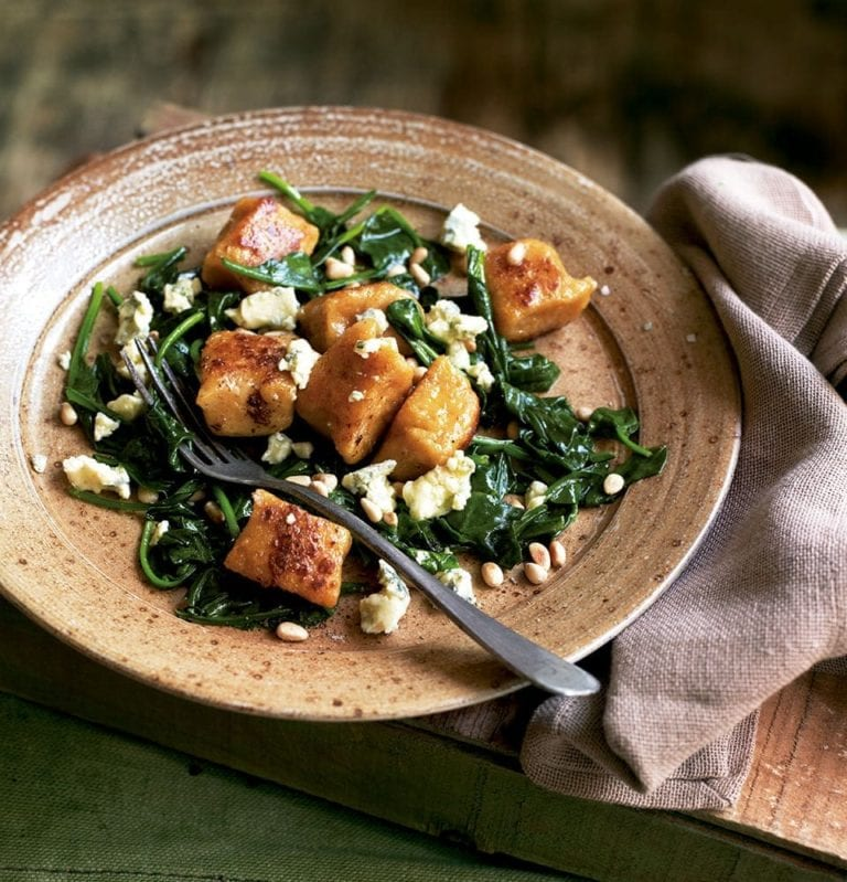 Sweet potato and parsnip gnocchi with blue cheese and pine nuts