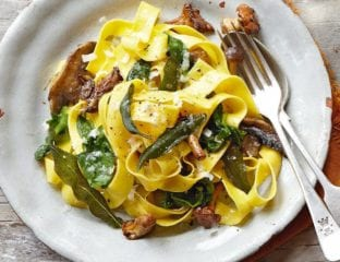 Mushroom and spinach pappardelle with crispy sage