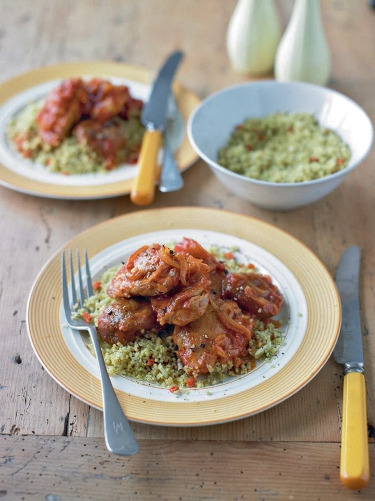 Chicken tagine with figs and fruity couscous
