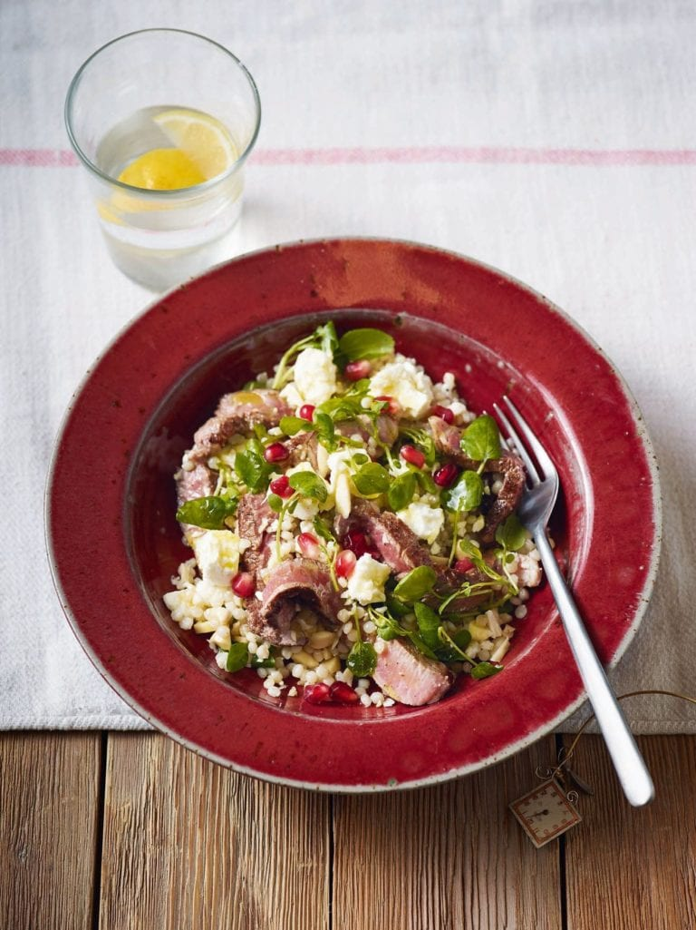 Giant couscous with spiced lamb, feta and almonds
