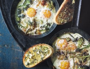 Baked broccoli and parmesan eggs