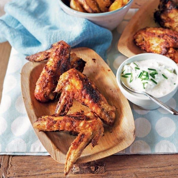 Spicy buffalo wings with ranch dressing