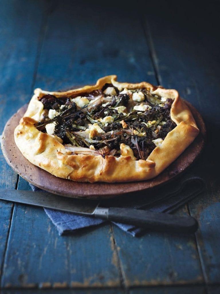 Caramelised broccoli and shallot tart with feta