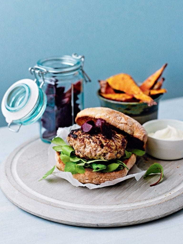 Pork burgers with sweet potato wedges