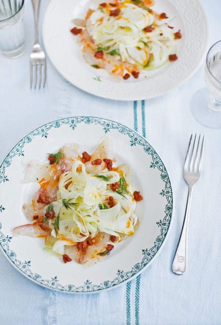 Cured sea bream and fennel salad