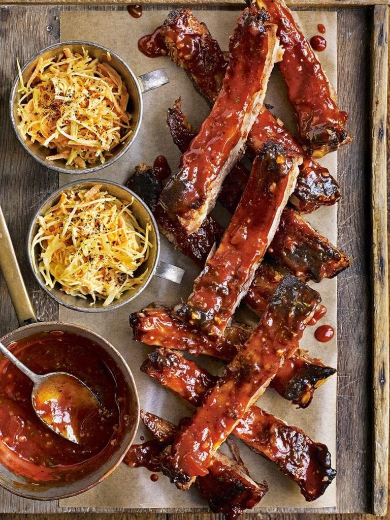 Roast pork ribs with sticky marmalade glaze