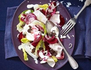 Shaved celeriac and beetroot caesar salad