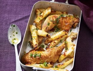 Roast chicken with celeriac chips with tarragon dressing