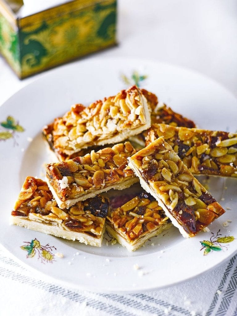 Sticky almond and date shortbread