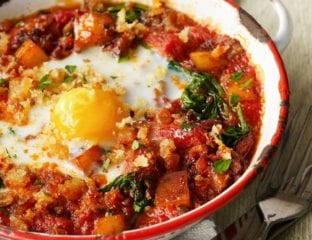Quick veggie baked eggs