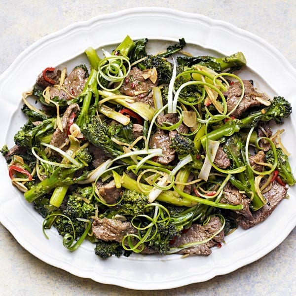 Sticky ginger beef and sprouting broccoli stir-fry