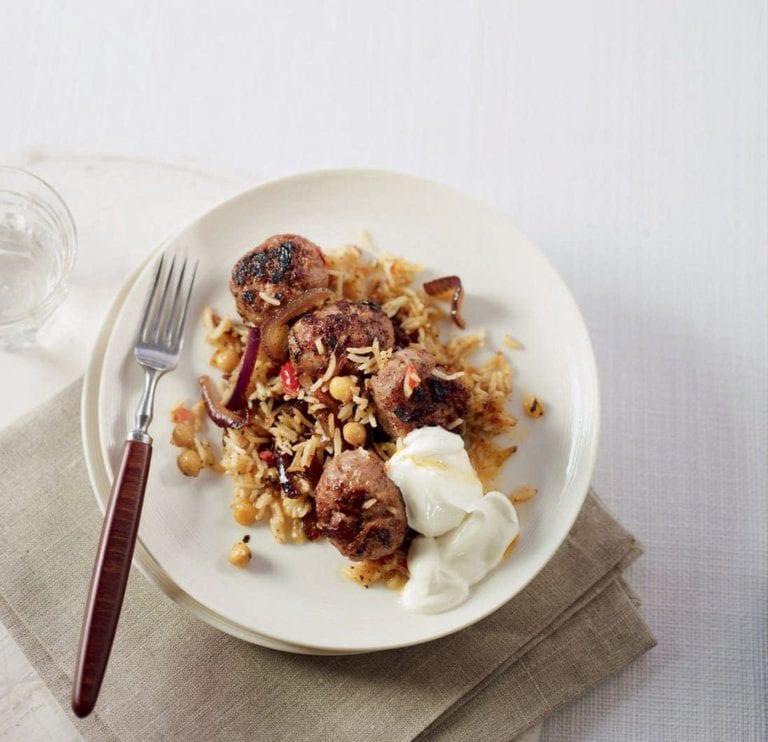 Crusty Persian rice with lamb meatballs recipe