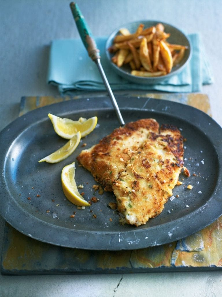 Crispy breadcrumbed lemon sole