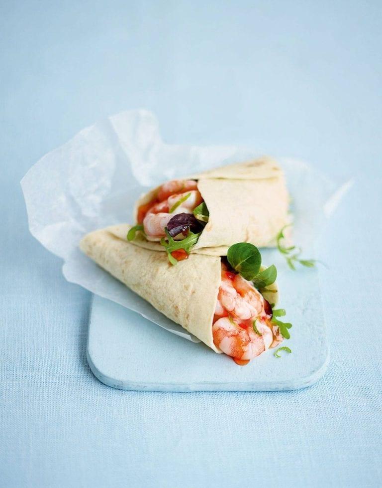 Prawn and lime mayo wrap