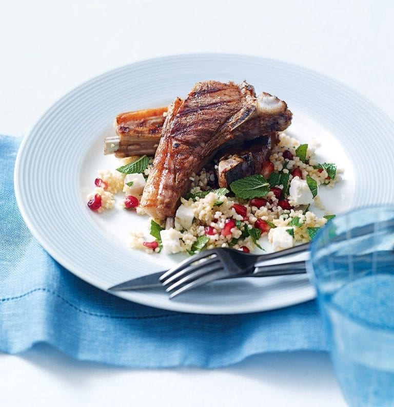 Quick spicy lamb chops with pomegranate, feta and mint tabouleh