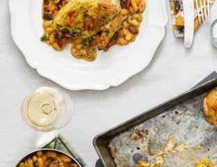 Stuffed tarragon chicken with cannellini bean stew