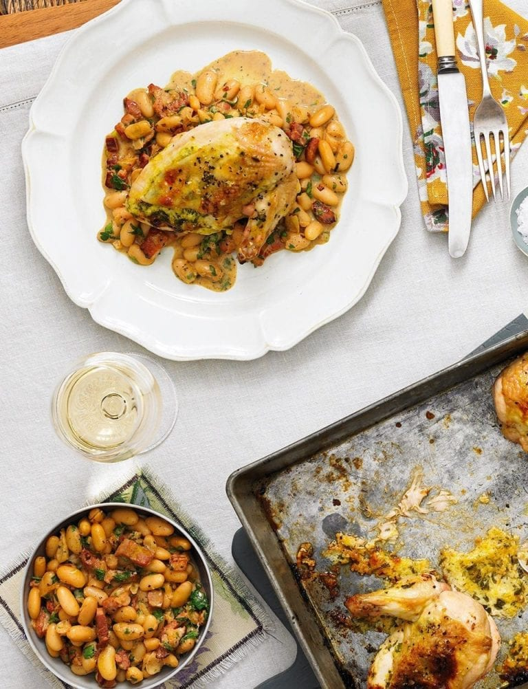 Stuffed tarragon chicken with cannellini bean stew