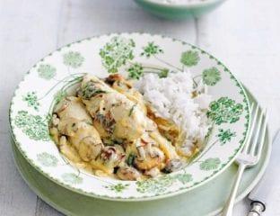 Chicken, mushroom and tarragon fricassée