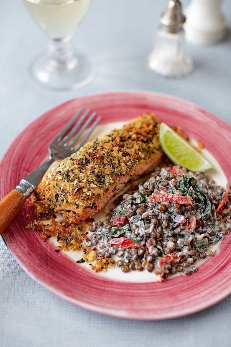 Lime crusted salmon with creamy, herby lentils
