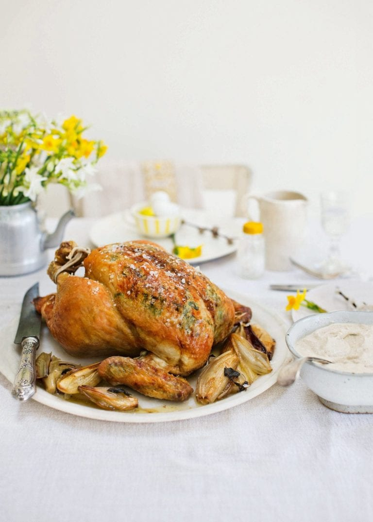 Roast chicken with sourdough bread sauce and gravy