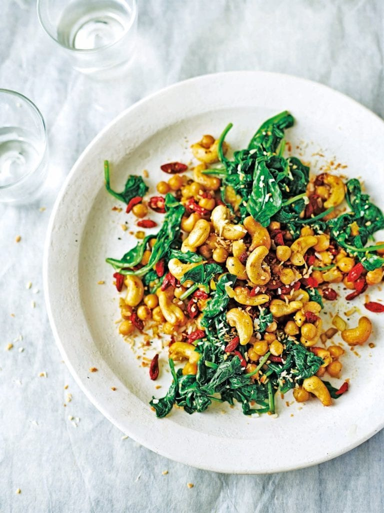 Chickpeas, spinach and cashews with cumin and coconut