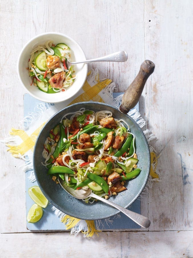 Sweet chilli chicken, peanut and noodle salad