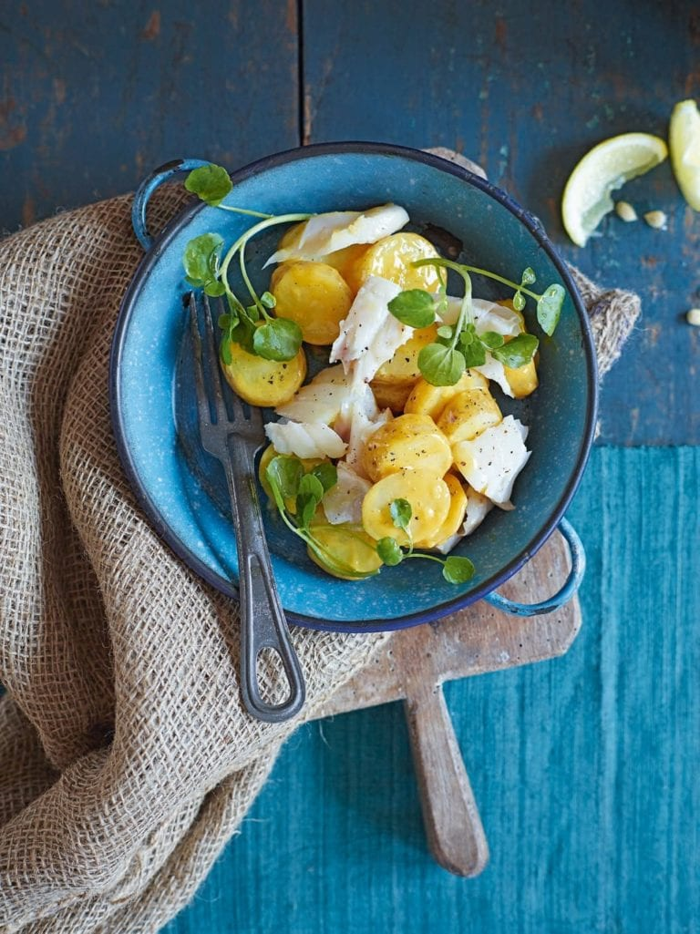 Curried jersey royal salad with smoked haddock