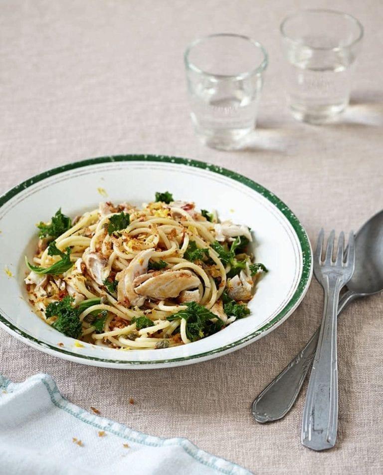 Mackerel, kale, lemon and caper spaghetti