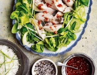 Poached chicken with lemongrass rice and nam jim
