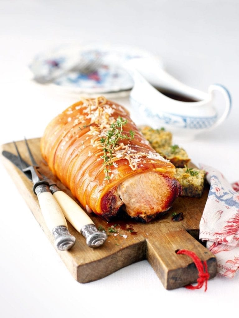 Herb stuffed roast pork