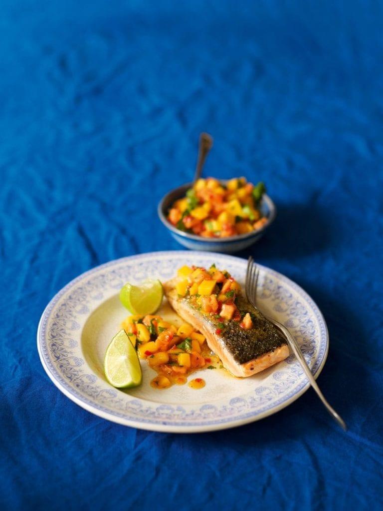 Griddled salmon with papaya and mango salsa