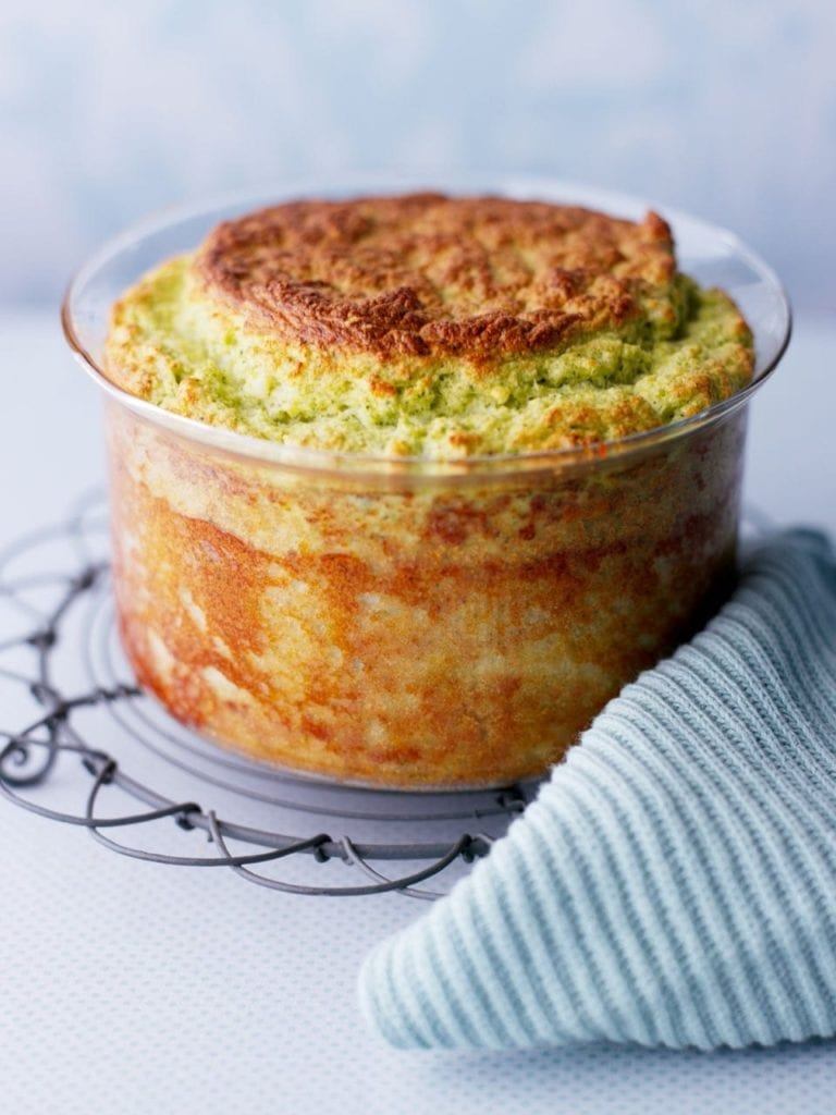 Broccoli and blue cheese soufflé