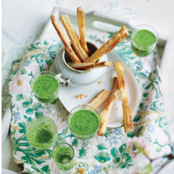Watercress velouté with pecorino straws