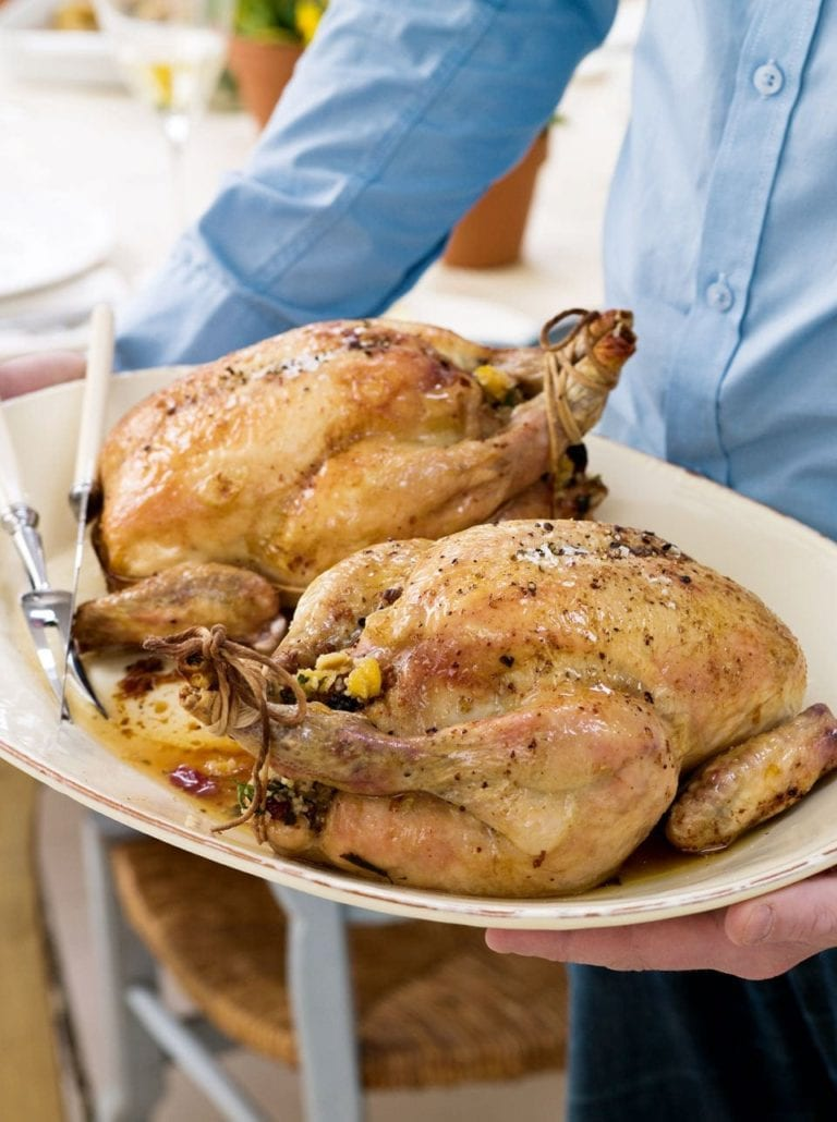 Roast chickens with a fragrant couscous stuffing