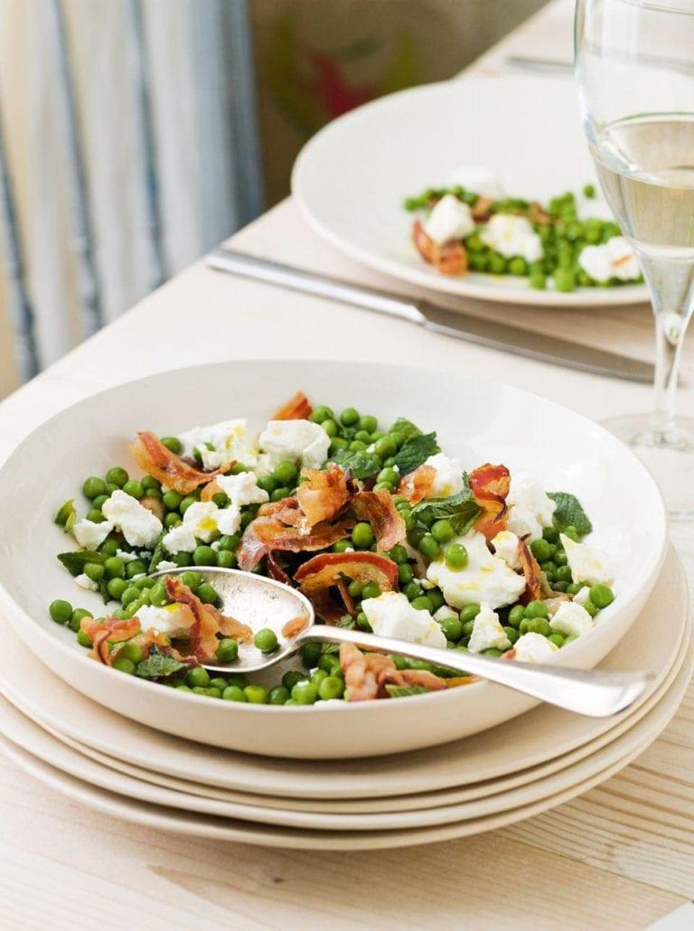 Pea, pancetta, feta and mint salad