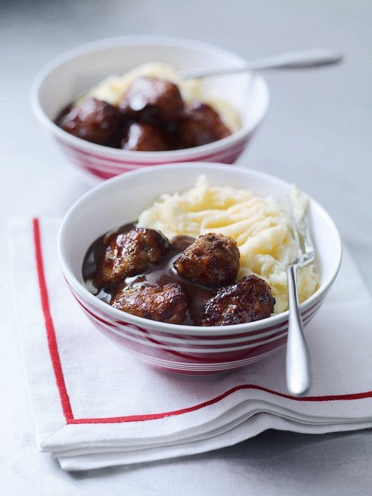 Frikadeller (Scandinavian meatballs) with rich gravy