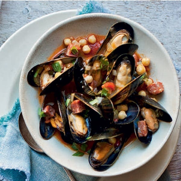 Chorizo, chickpea and mussel stew