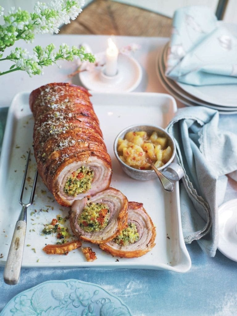 Herb and quinoa roast pork with fennel crackling