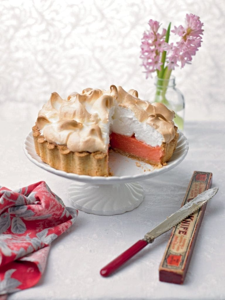 Rhubarb and coconut meringue tart