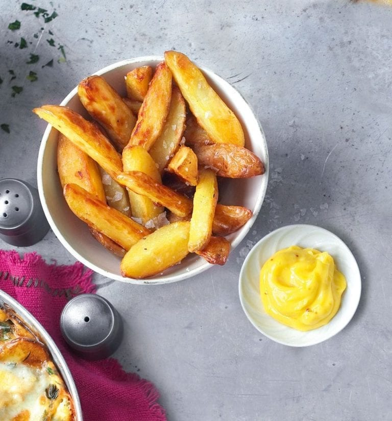 Jersey royal chips with saffron aïoli