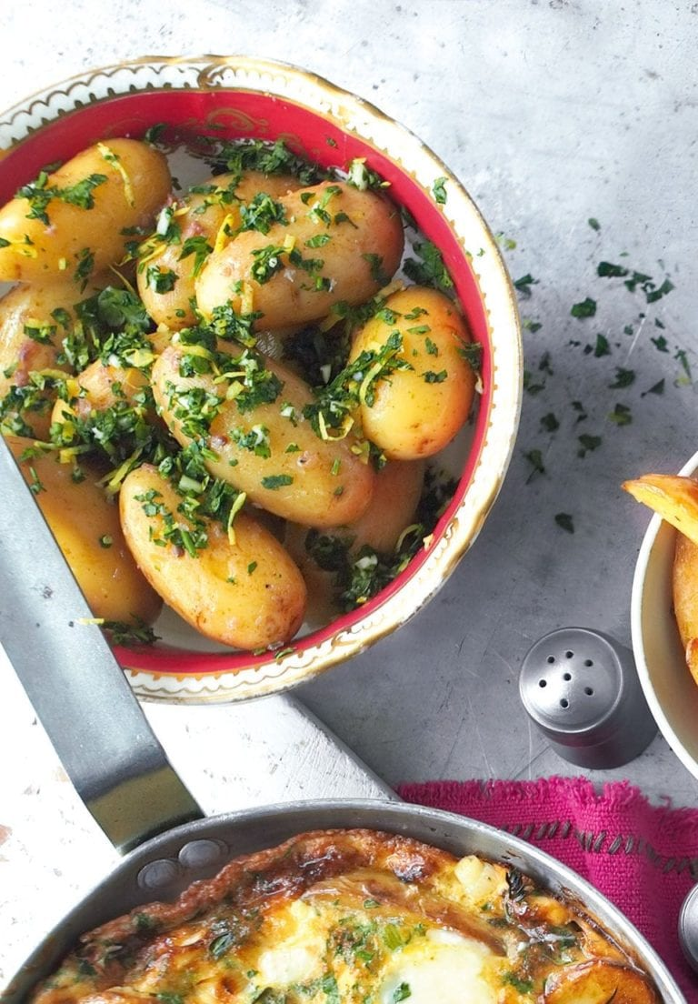 Jersey royals with anchovy gremolata