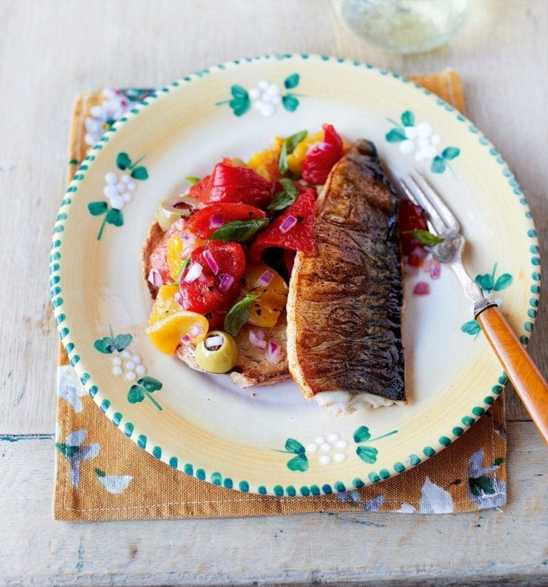 Smoky grilled mackerel fillets with Tuscan salad