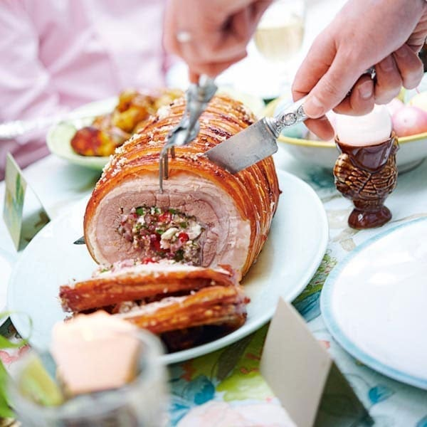Roast Stuffed Pork Belly Recipe Delicious Magazine