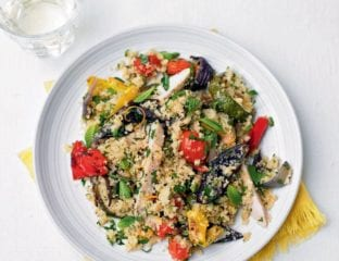 Smoked chicken and roasted vegetable barley couscous