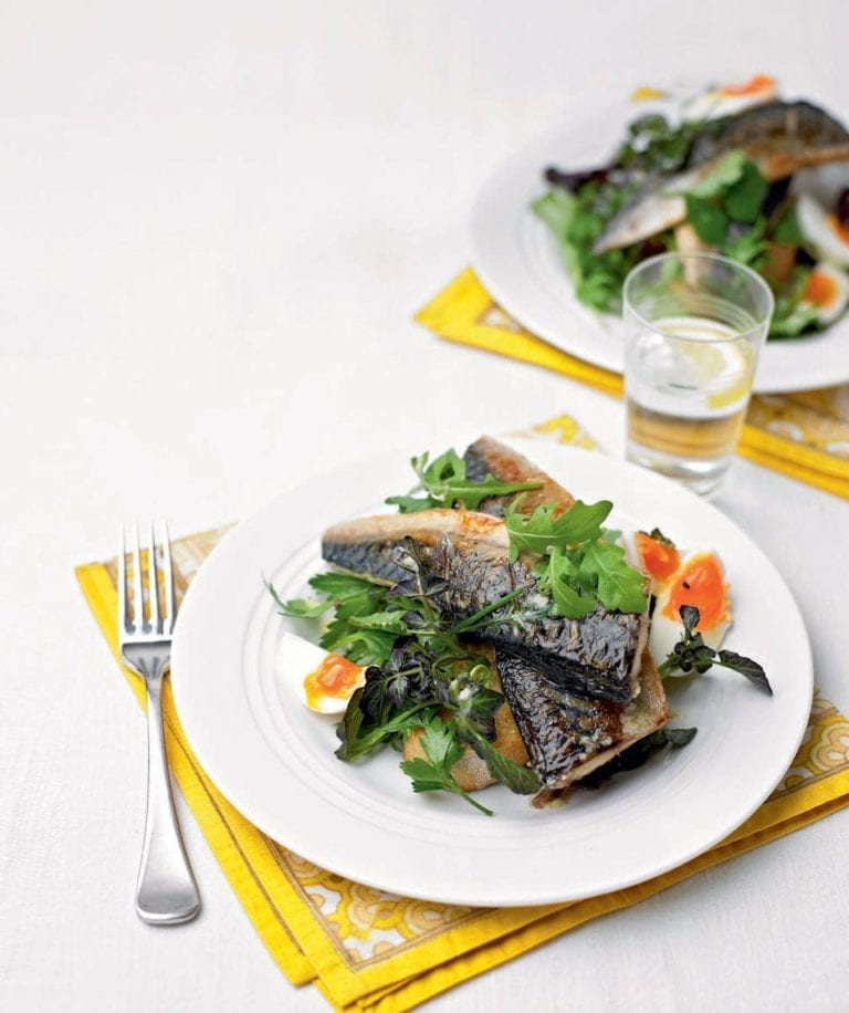 Seared mackerel and horseradish ciabattas