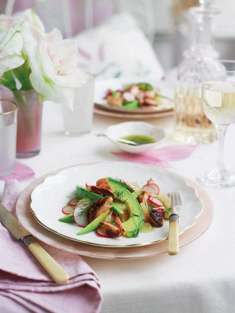 Sticky salmon with radish and avocado