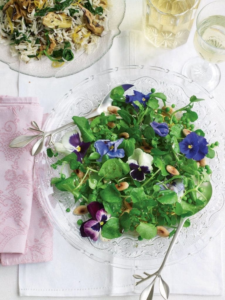 Watercress, pea and almond salad