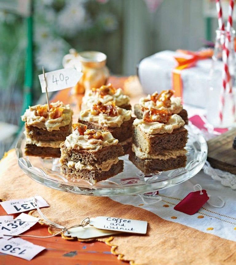 Mini coffee and walnut cakes