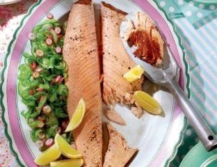 Tea-poached side of salmon